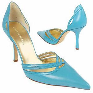 Голубое платье подобрать обувь